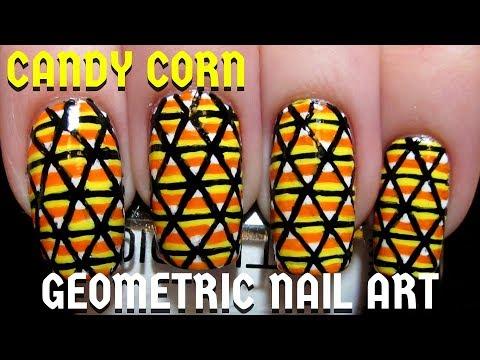 Easy Geometric Candy Corn Diy Freehand Halloween Nail Art Tutorial