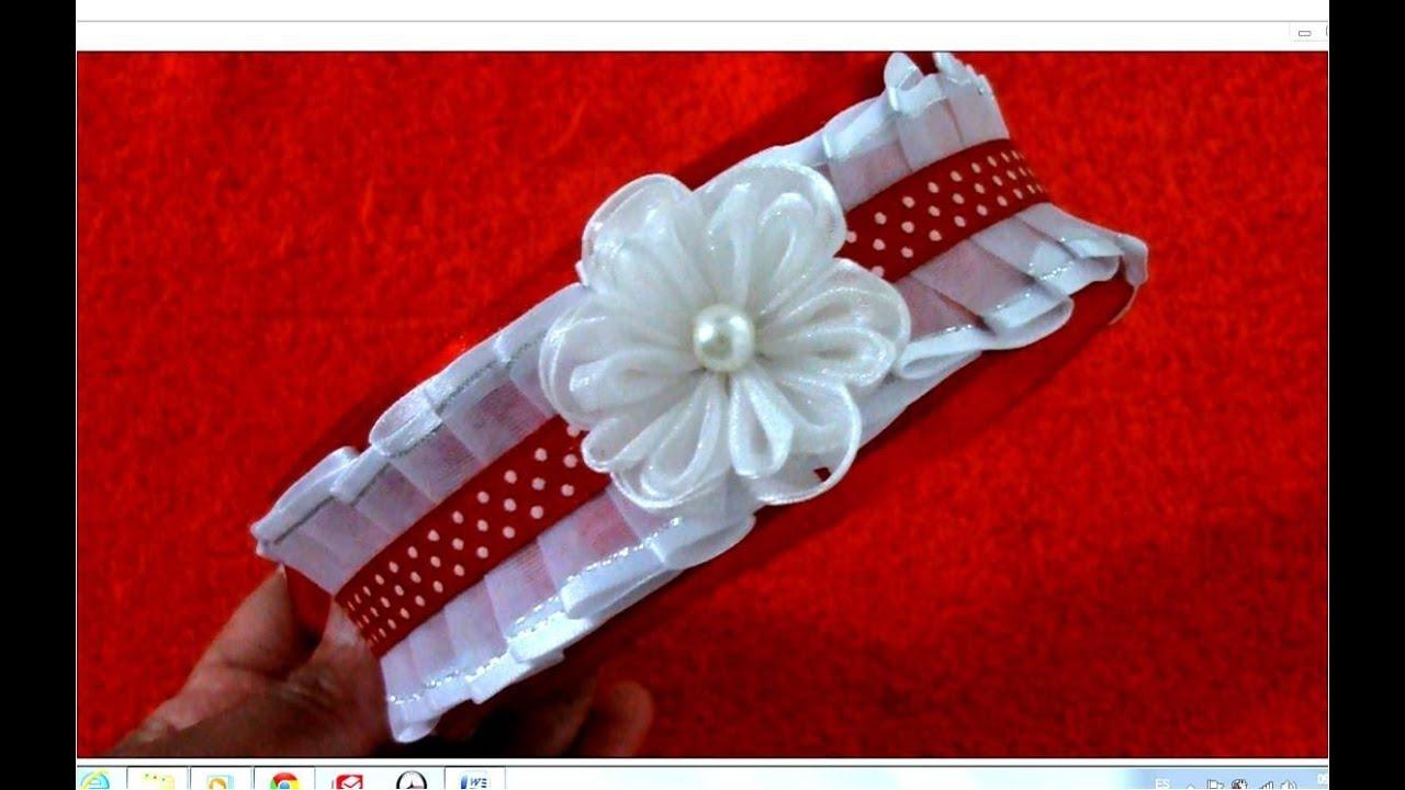 Diademas con flores de organza plisadas en cintas para el cabello