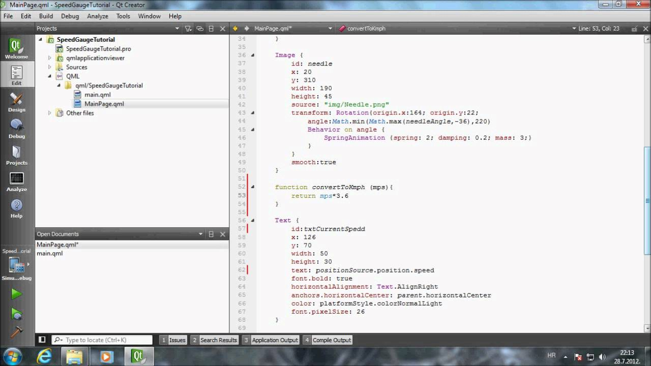Mobile Developer's Video Tutorials: Qt Speed Gauge Tutorial 3