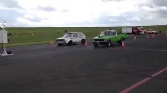 1979 Chevy LUV truck drag racing in Bitburg against Adrenalin tuning VW golf August 2014.