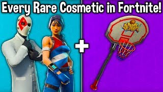 EVERY RARE SKIN + ITEM IN ALL FORTNITE! (Rare Skin Guide) (Rarest Skins, Gliders + Pickaxes)