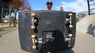 One of Braille Skateboarding's most viewed videos: SKATEBOARDING A FLATSCREEN TV?! | SKATE EVERYTHING EP 17