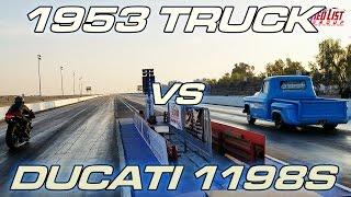 Turbo '56 Chevy Truck vs Ducati 1198S Superbike