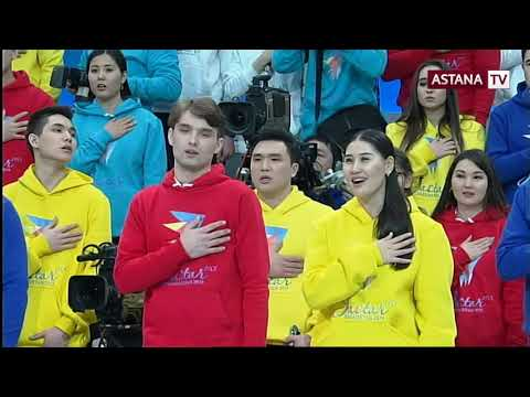 National Anthem of Kazakhstan vocal with politicians and adolescent citizens Astana TV