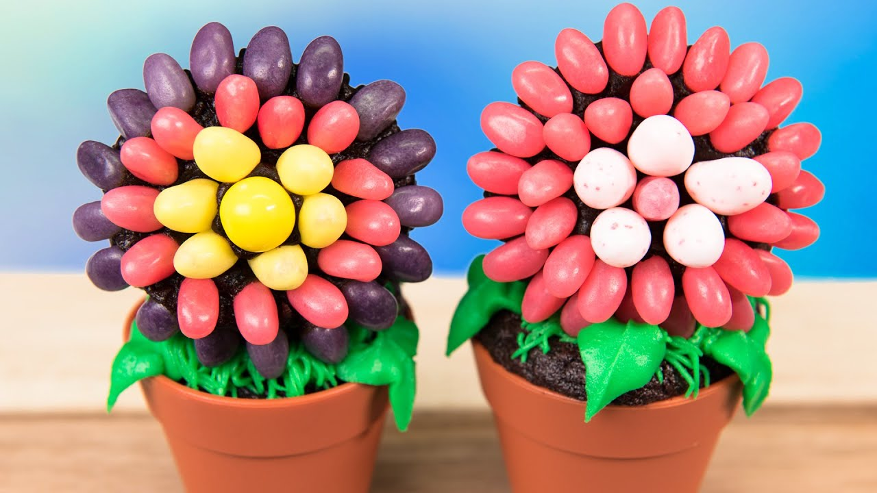 Jelly Bean Flower Pot Cupcakes From Cookies Cupcakes And Cardio