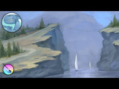 Landscape with two ships. Speed painting with Krita.