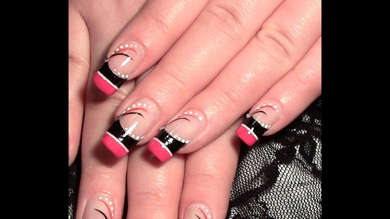 nageldesign abstrakt in pink schwarz zum selber machen nailart tutorial strass youtube. Black Bedroom Furniture Sets. Home Design Ideas