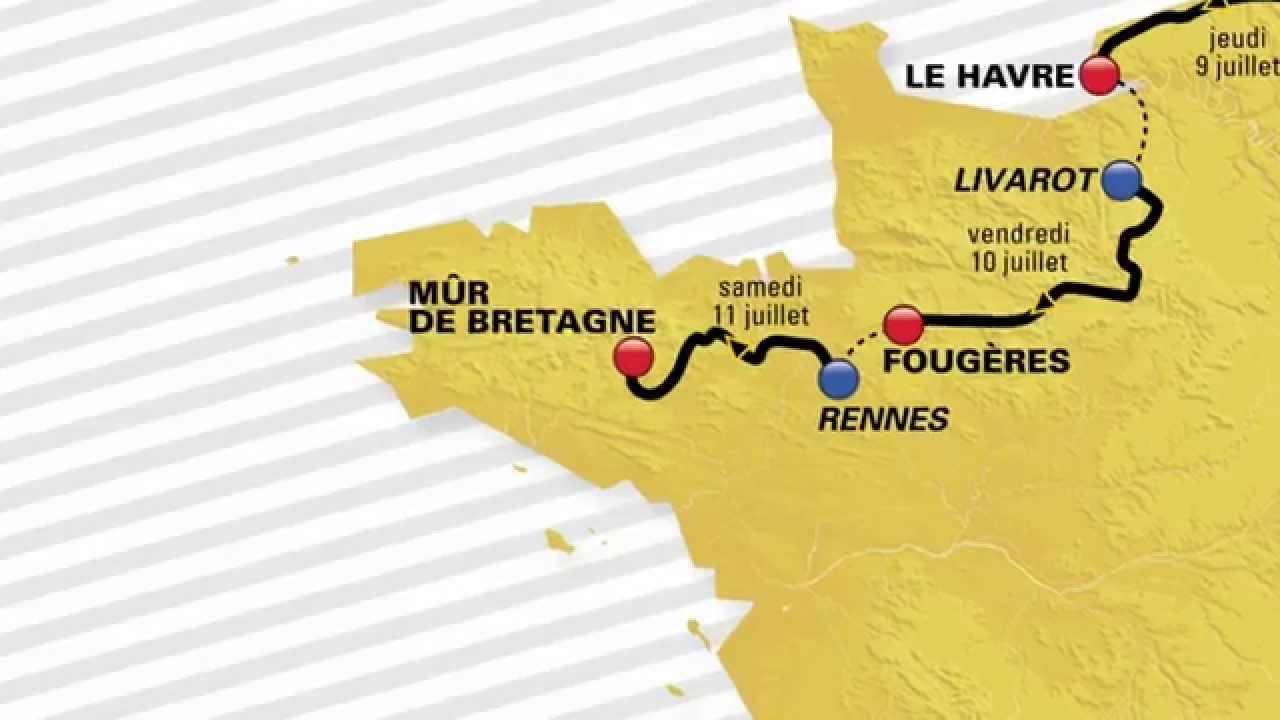 Tour de France 2015 Carte parcours - YouTube