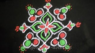 Rangoli designs with dots - 5 dot series 03