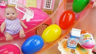 Baby doll Slide house and surprise eggs toys play