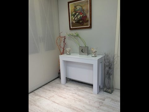 Mesa consola extensible pata giratoria - YouTube