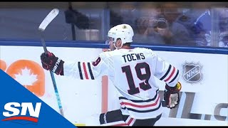 Jonathan Toews blows past Maple Leafs' defence, scores five-hole on Andersen
