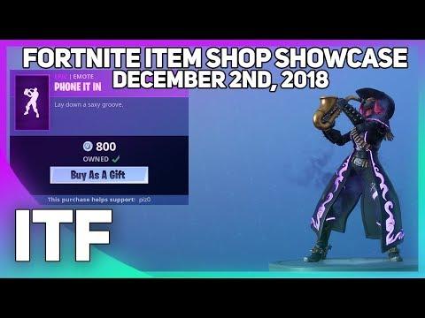 Fortnite Item Shop *NEW* PHONE IT IN EMOTE! [December 2nd, 2018] (Fortnite Battle Royale) thumbnail