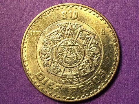 Mexico Diez Pesos 1998 - 10 Pesos Coin - Tonatiuh  - ESTADOS UNIDOS MEXICANOS