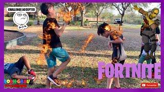 FORTNITE DANCE CHALLENGE-DANS LA VRAIE VIE! CHALENGE FORTNITE, BABY SHARK, SHOOTING YAH BOY STARS