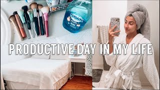 PRODUCTIVE DAY IN MY LIFE (Organize my room, clean makeup brushes, Skincare routine etc.)