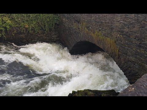 White Water Kayaking Under Backbarrow Bridge On The River Leven, Lake District, Jan 2018