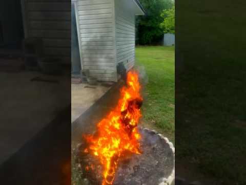 Scott Dillon and Larry Dillon  burning a lighter Pine stump.hot