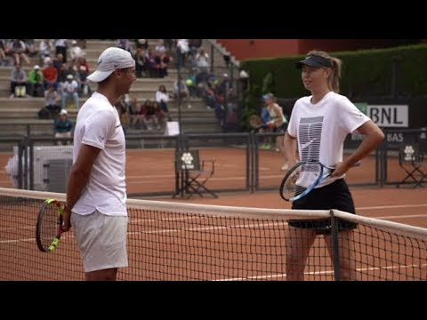 Maria Sharapova practices with Rafael Nadal | Rome Masters 2018