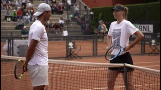 Maria Sharapova practices with Rafael Nadal   Rome Masters 2018