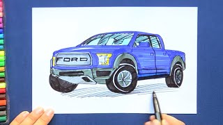 How to draw and color a Ford F-150 pickup truck