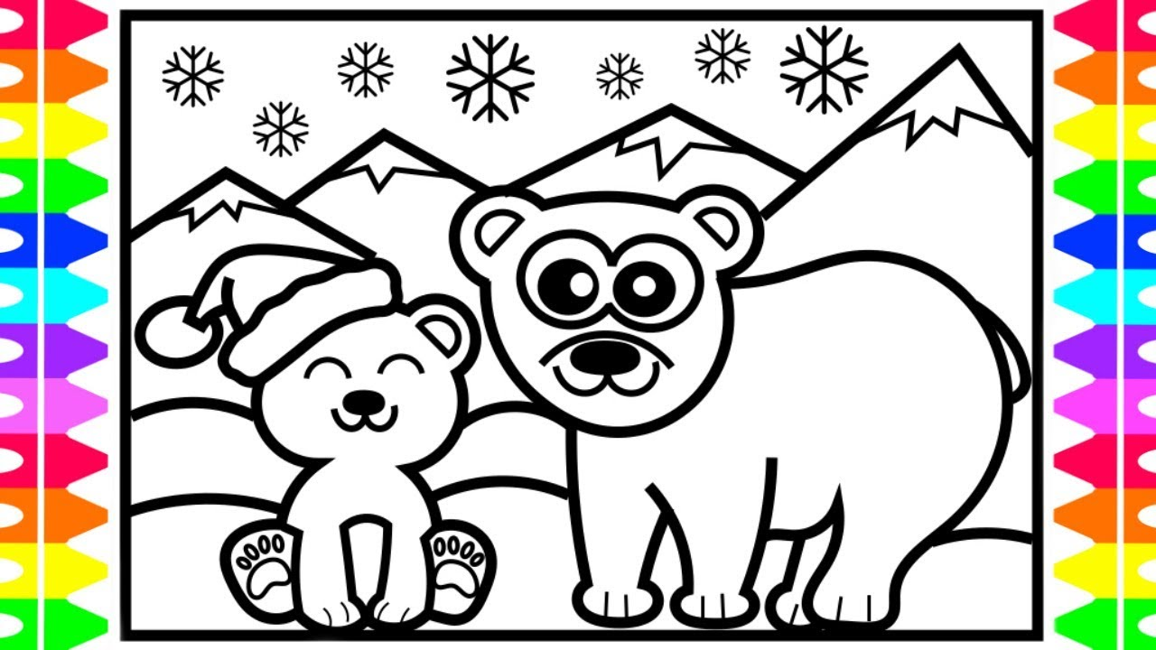 christmas coloring how to draw a polar bear step by step north pole arctic cute animals