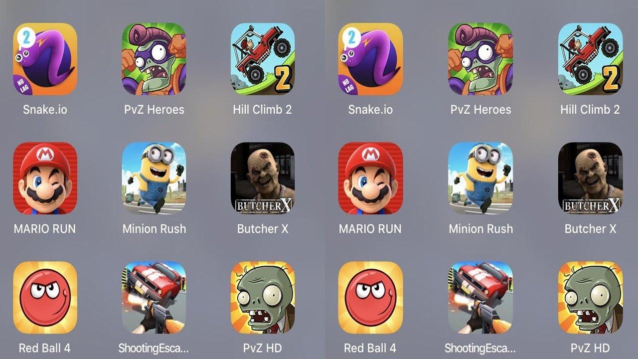 Snake.io,PVZ Heroes,Hill Climb 2,Crowd City,Mario Run,Minion Rush,Butcher X