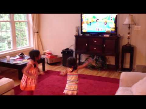 Olivia & Gabby dancing Nickelodeon Dance 2