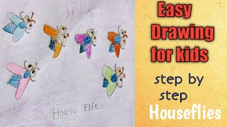 Drawing for kids| Easy drawing tutorial| Housefly drawing|5 year kid learning how to draw a housefly