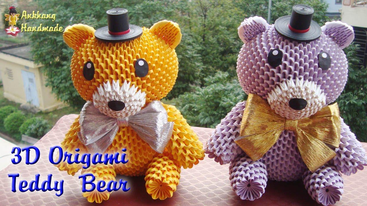 3d origami teddy bear paper teddy bear handmade