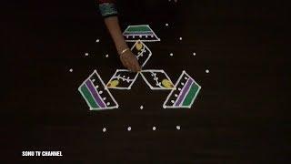7 Dots rangoli ||beginners rangoli ||deepam rangoli ||lotus rangoli ||how to draw||