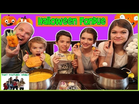 HALLOWEEN Chocolate and Cheese FONDUE FOOD CHALLENGE!! / That YouTub3 Family