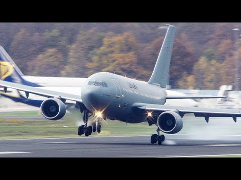 Airbus A310 JUMPING AROUND after Touchdown - A310 CROSSWIND LANDING (4K)
