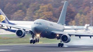 Airbus A310 JUMPING AROUND after Touchdown - A310 CROSSWIND LANDING (4K)