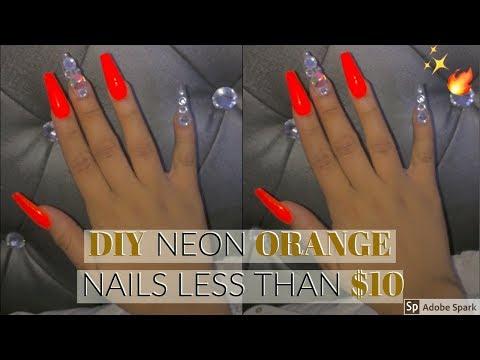DIY Neon Orange Nails Less than $10!
