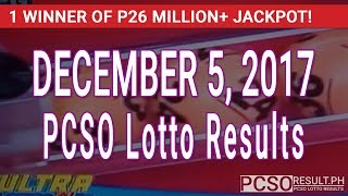 PCSO Lotto Results Today December 5, 2017 (6/58, 6/49, 6/42, 6D, Swertres & EZ2)