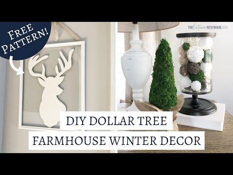 DOLLAR TREE WINTER DECOR - DIY Dollar Tree Farmhouse Winter Decor