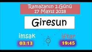 2018 KARADENİZ Bölgesi İL İL İMSAK ve İFTAR Vakitleri (2.Gün -17 Mayıs 2018)