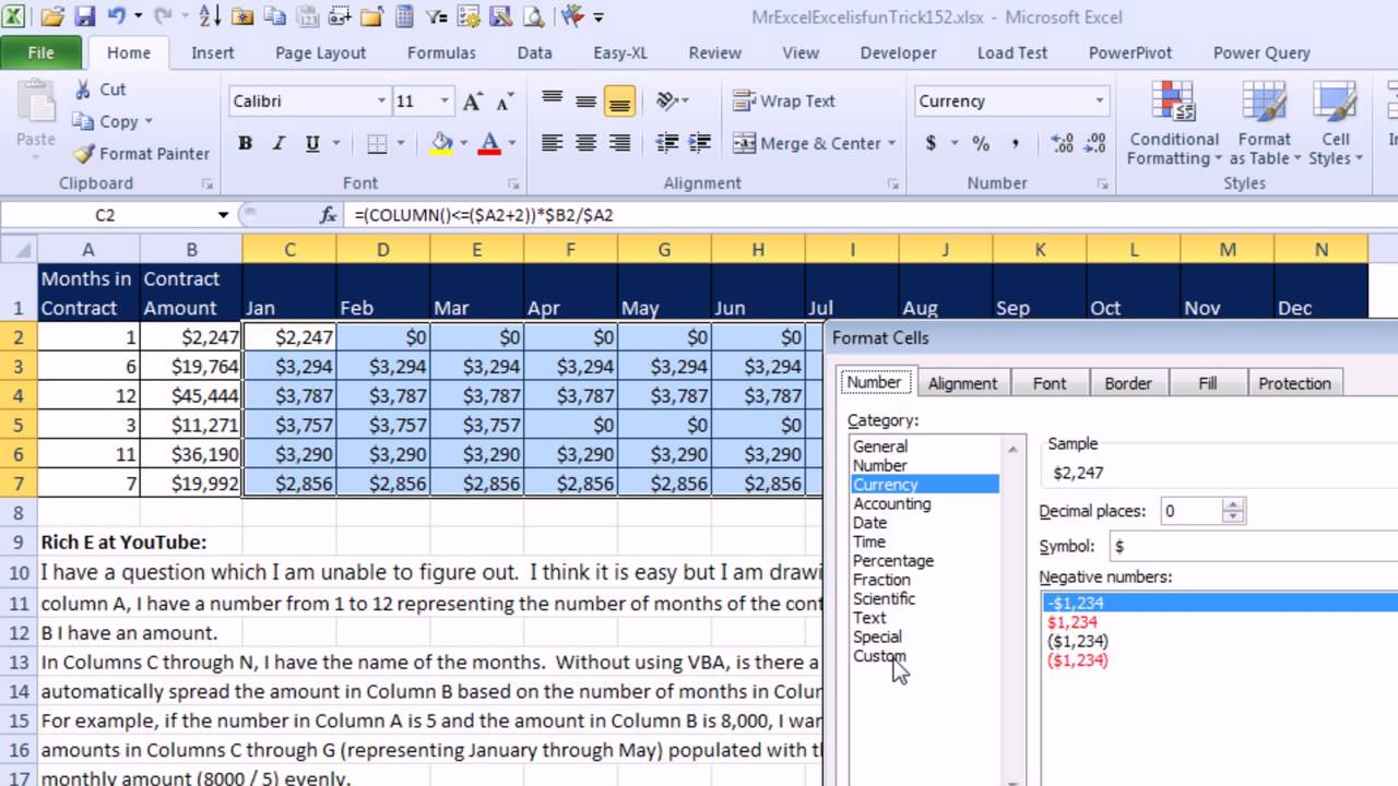 mr excel  u0026 excelisfun trick 152  allocate yearly cost