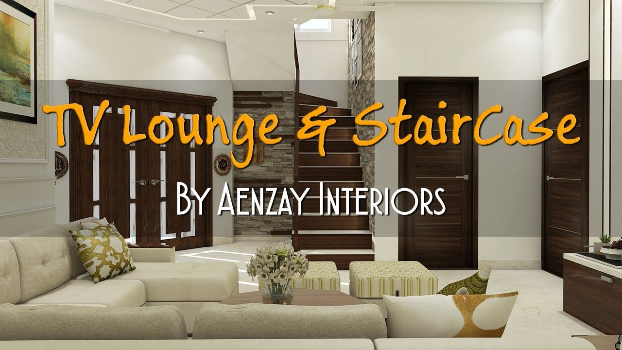 TV Lounge and Staircase Interior Design | Ceiling DIY Entrance Decor |  Plasma Wall Decor