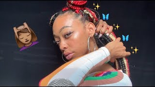 ASMR | PLAYING WITH MY BRAIDS + RAMBLING 💆��♀�🦋