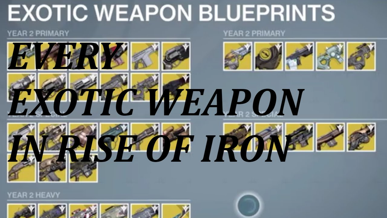 New exotic weapon blueprints in destiny rise of iron year 3 youtube malvernweather Images