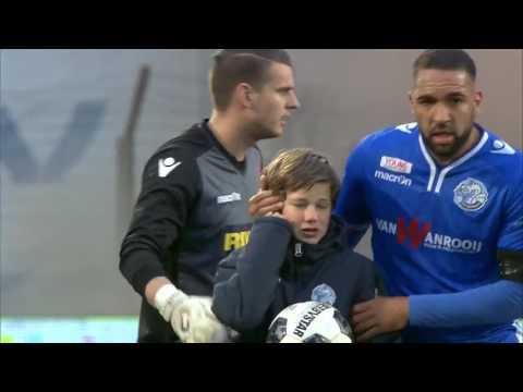 Ballboy cries after firework bomb explodes game between Den Bosch and Dordrecht stops