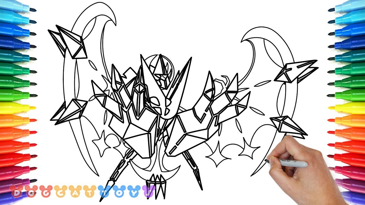 How To Draw Dawn Wings Necrozma Pokemon Ultra Moon Drawing Coloring Pages For Kids Youtube