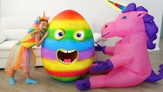 Sofia play with Giant Surprise Eggs & open toys