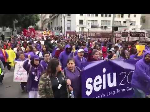 Demonstrators descend on Los Angeles for May Day marches