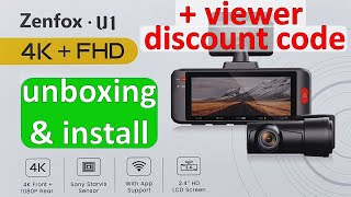 Front and Rear 4k Dash Cam NEW for 2022 | Zenfox U1 4K Dash Cam