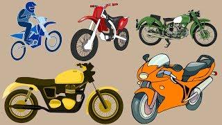 Aprender cores e números com motos e carros em português