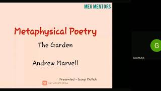 Block 3: Andrew Marvell and The Garden Explanation by Miss Gargi