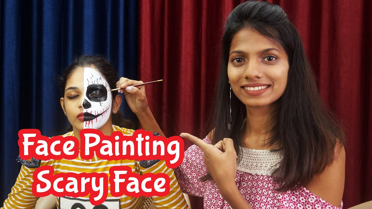 Face Painting Scary Face Tutorial   Halloween Face Painting Ideas   Face Painting For Kids